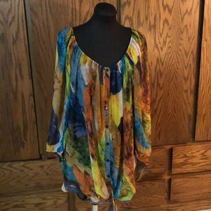 Sheer multi colored tunic with tie bottom